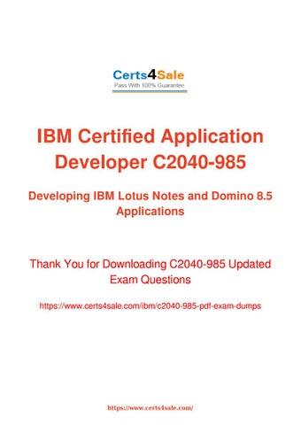 C2040-985 Dumps - Pass IBM C2040-985 Exam with Cheat Sheet ...