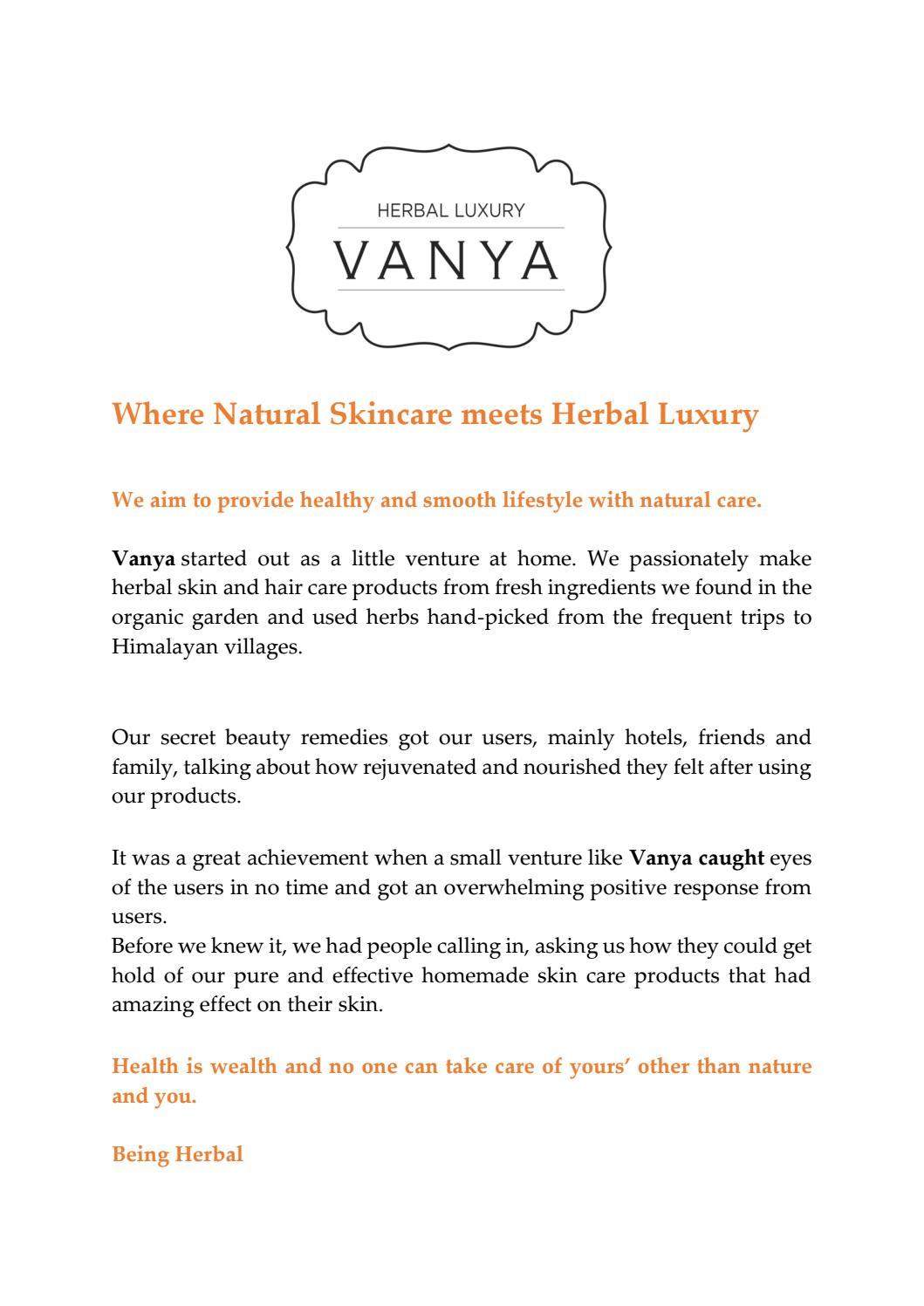 Where Natural Skincare Meets Herbal Luxury By Vanya Herbal Issuu