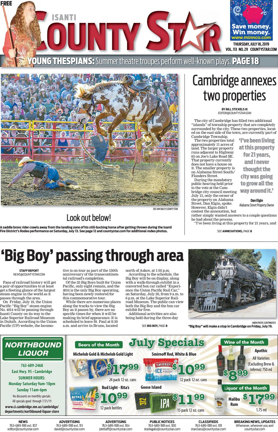 Isanti County Star July 18, 2019 by Isanti-Chisago County