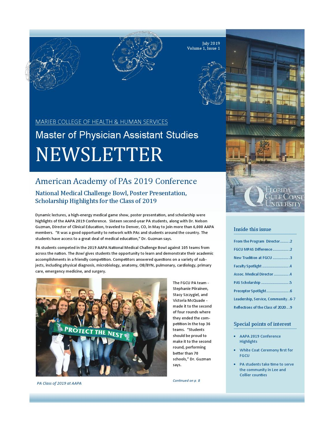 Master of Physician Assistant Studies - July 2019 Newsletter