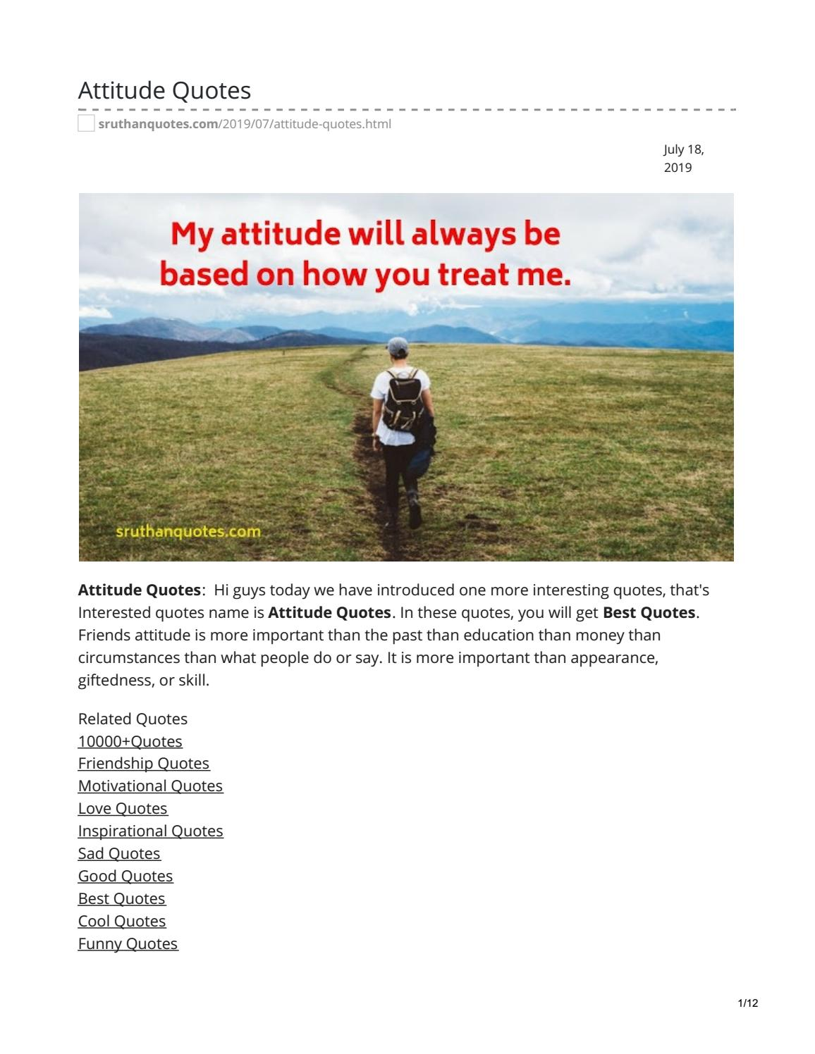 Attitude Quotes By Sruthanquotes Issuu