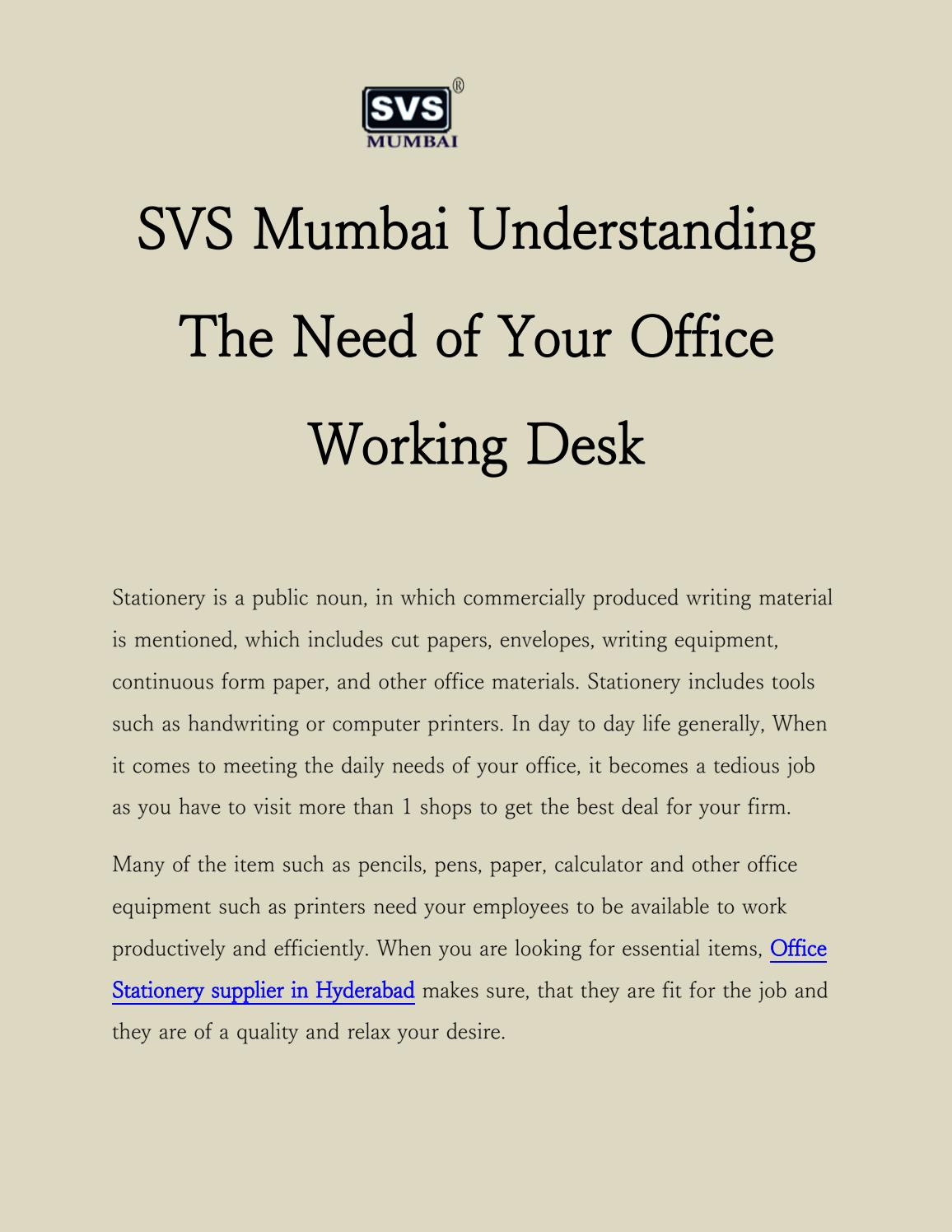 Office Stationery supplier in Hyderabad by svsmumbai - issuu