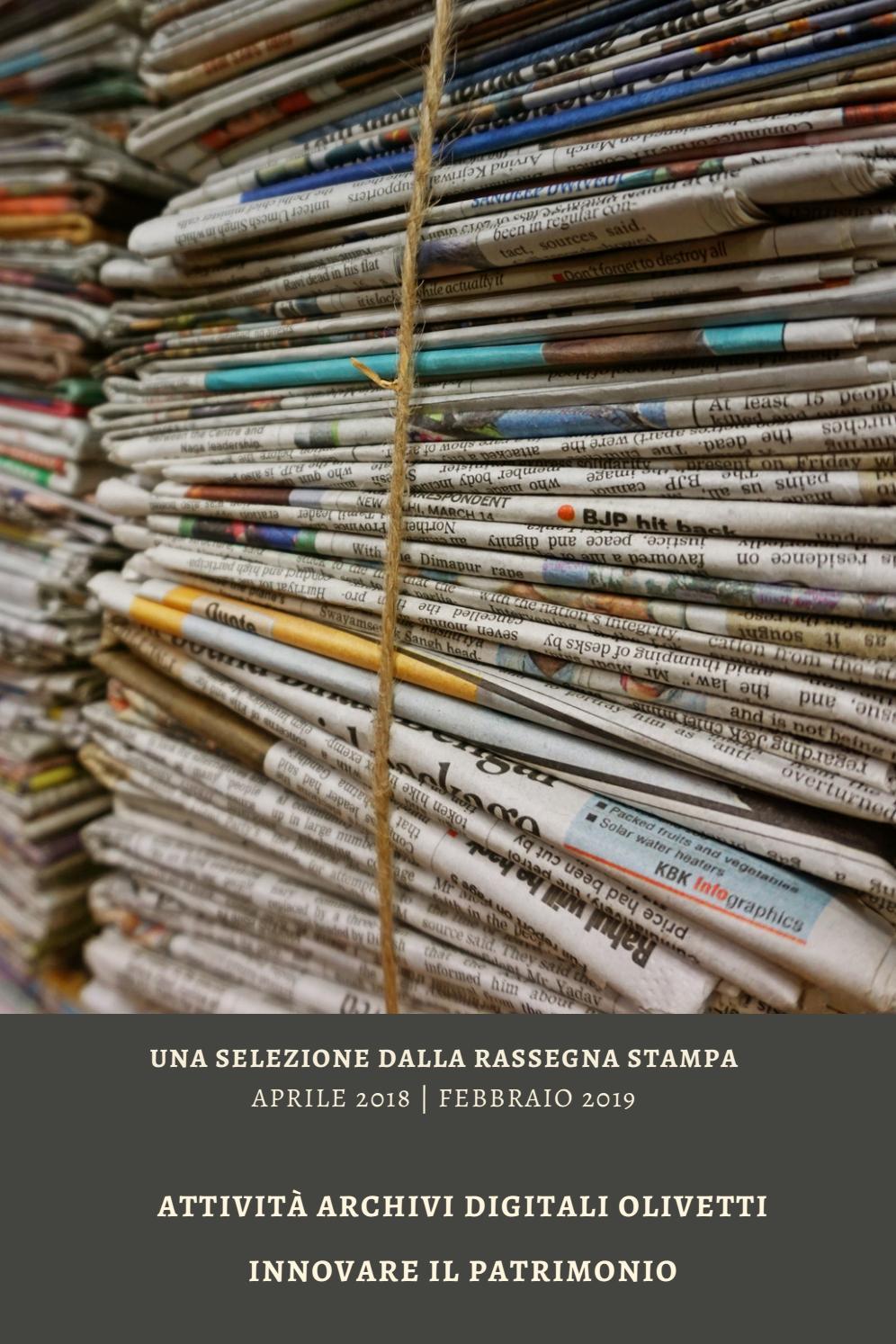 Rassegna Stampa Fondazione Adriano Olivetti Aprile 2018