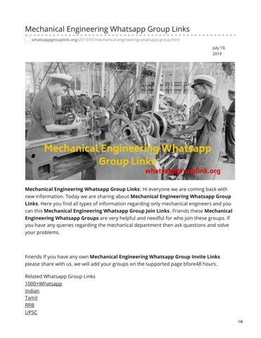 Mechanical Engineering Jobs Whatsapp Group Link