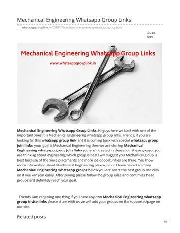 Mechanical Engineering Whatsapp Group Links