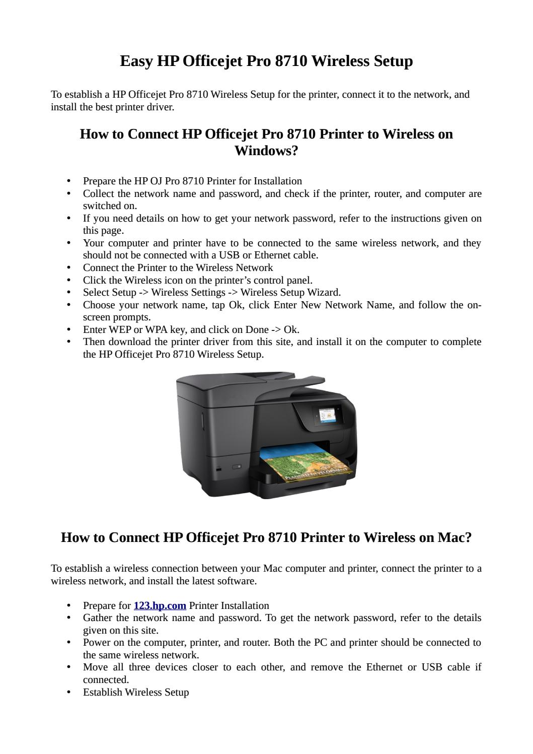 Procedure for HP Officejet Pro 8710 Wireless Setup by