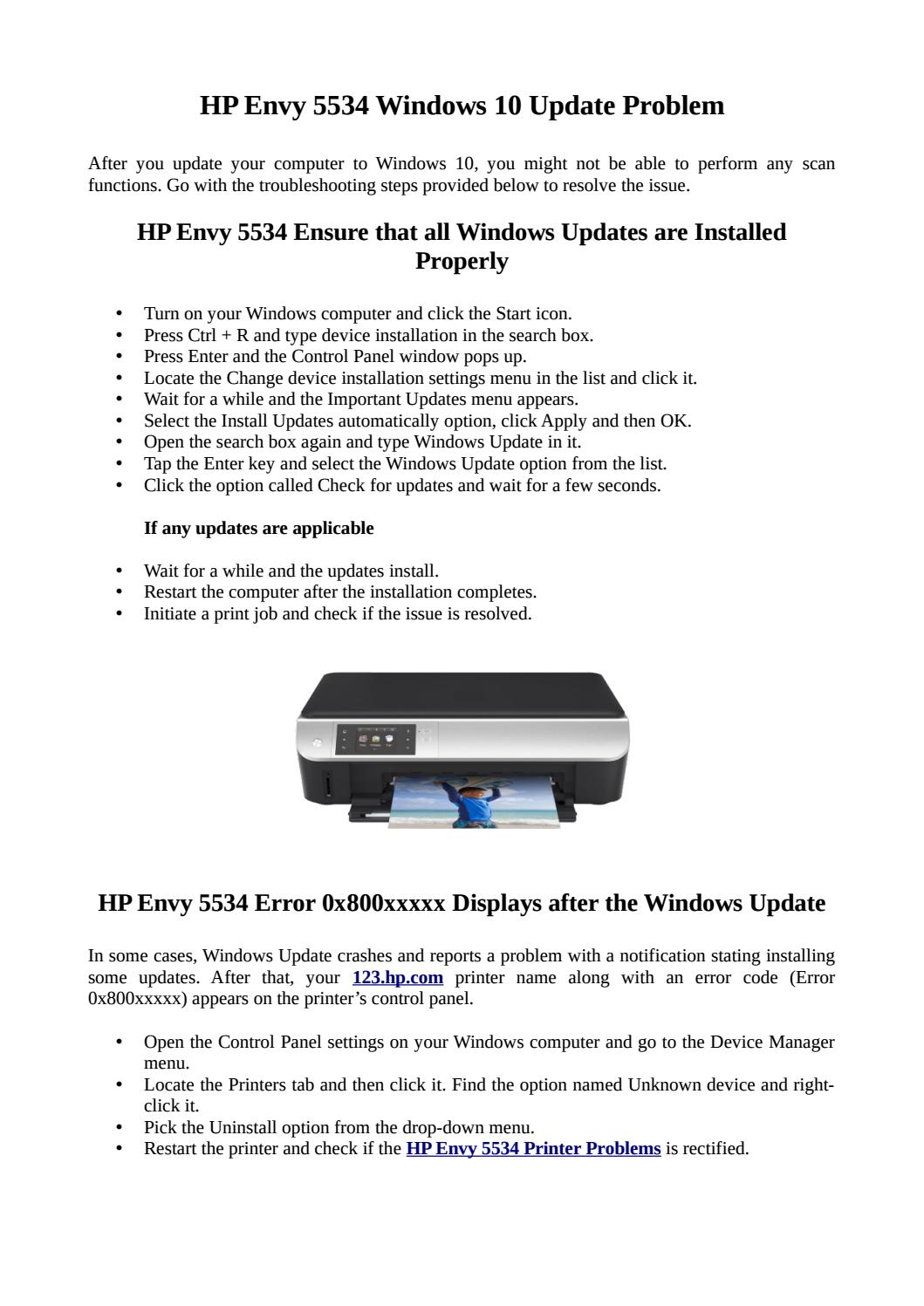 Fix HP Envy 5534 Windows 10 Update Issue by support assistsnt - issuu
