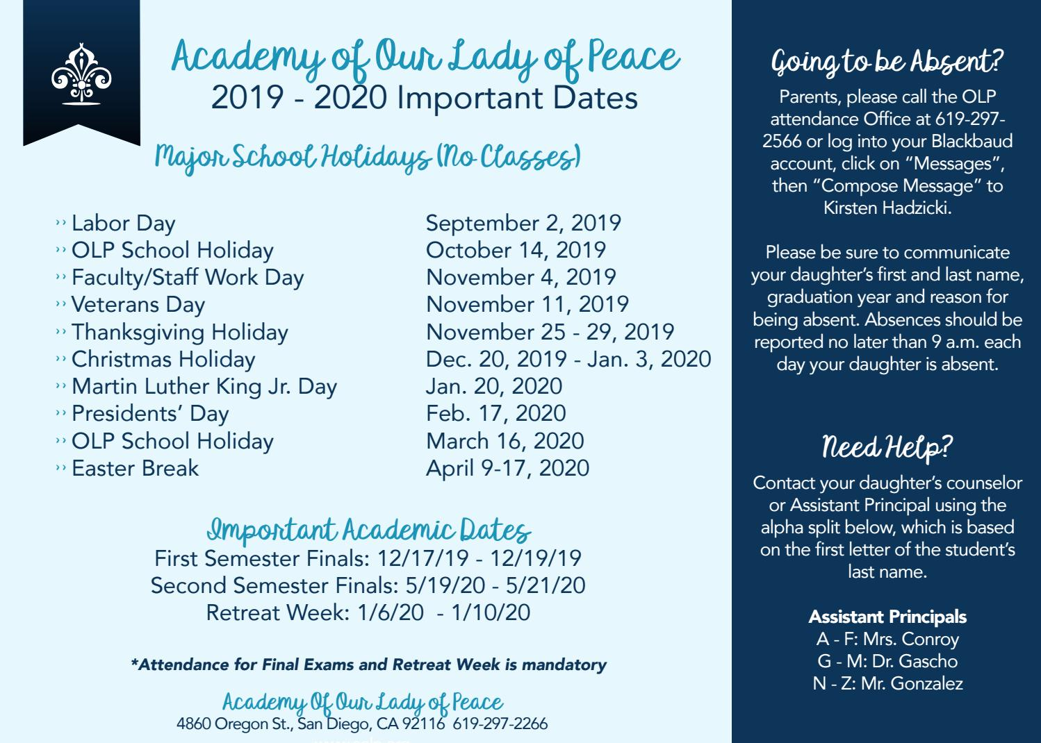 2019-20 Important Dates for Parents by Academy of Our Lady