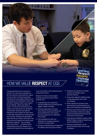 Page 10 of How we value RESPECT at CGS