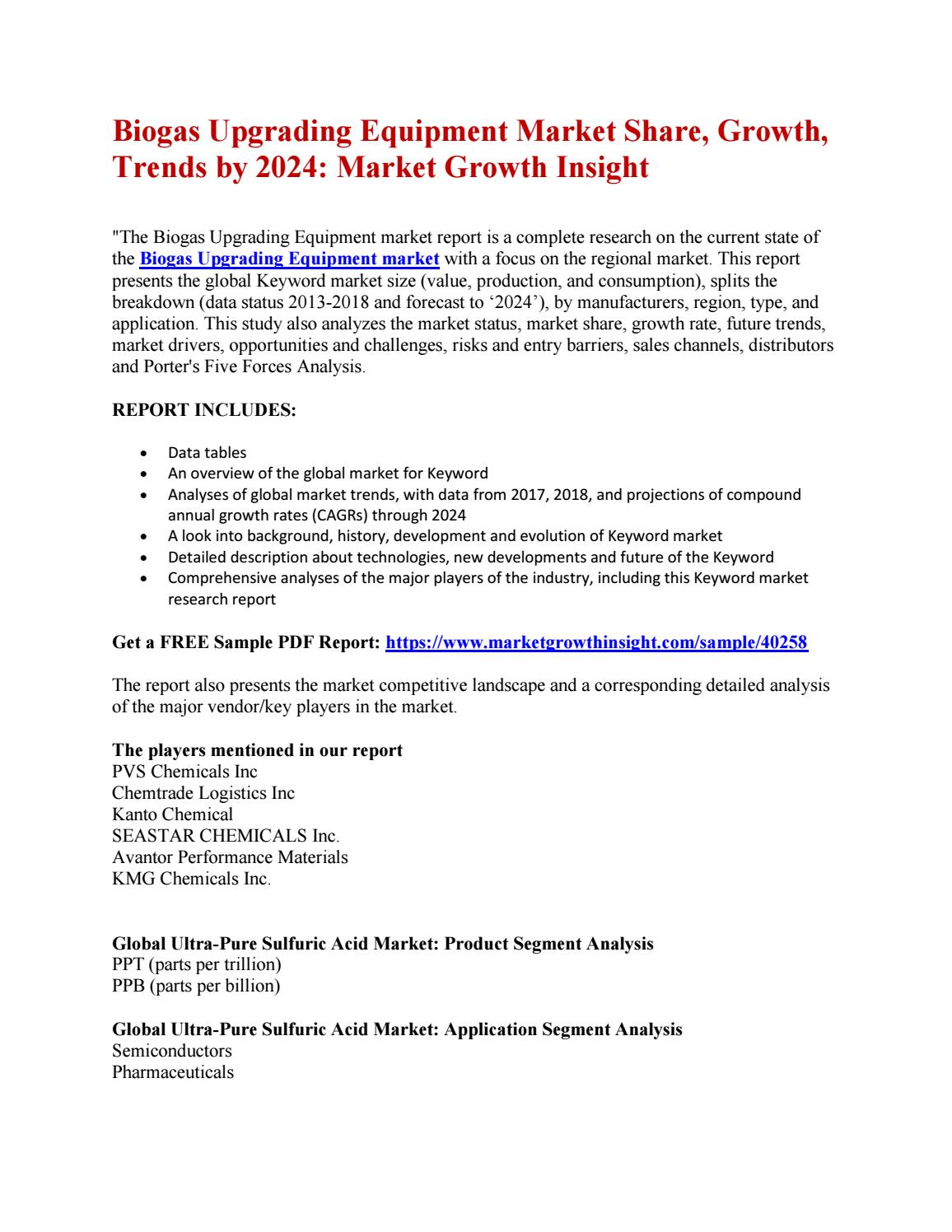 Biogas Upgrading Equipment Market Share, Growth, Trends by