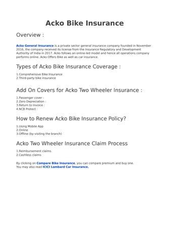 Acko Bike Insurance By Vivekpawar776 Issuu