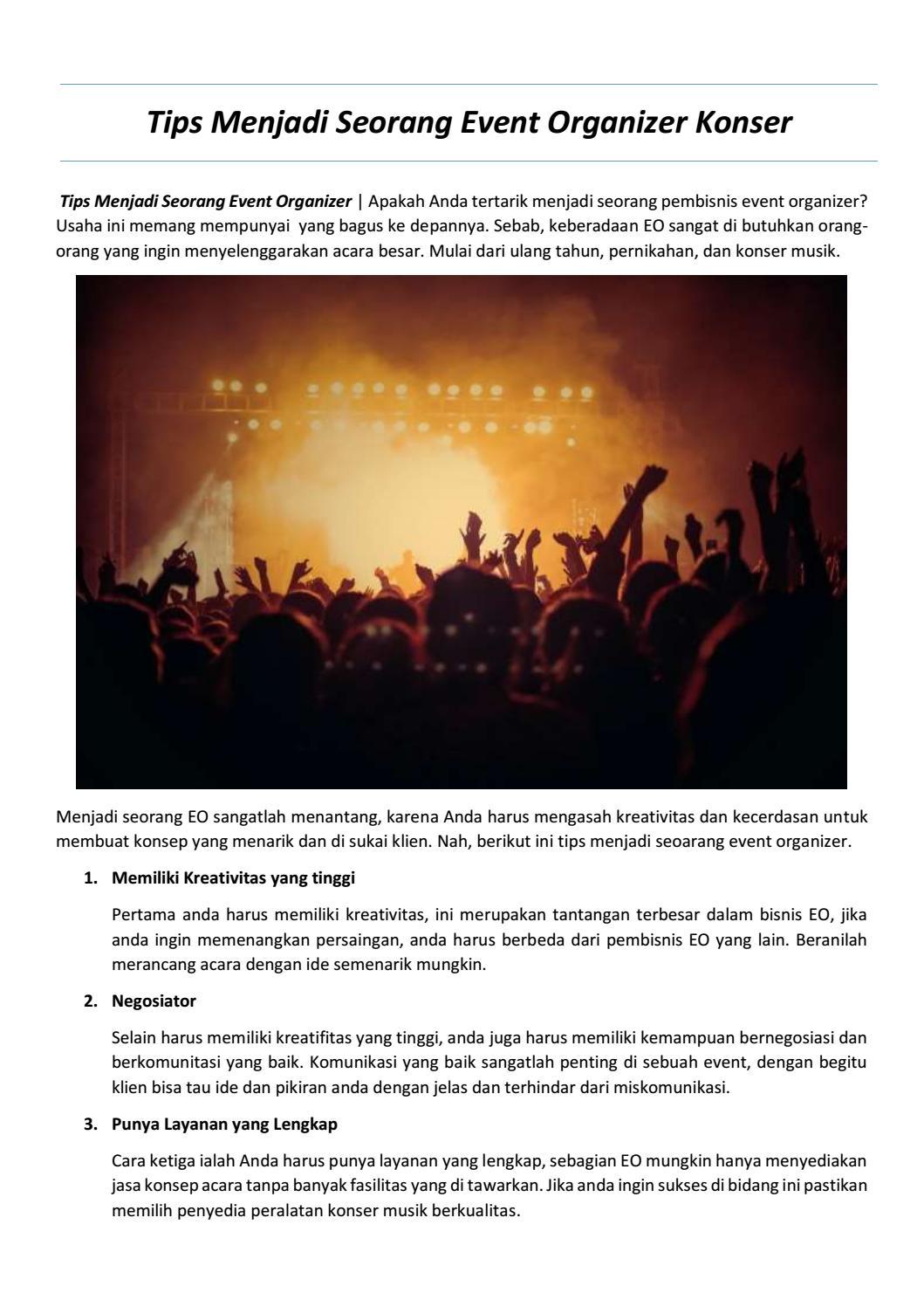Tips Menjadi Seorang Event Organizer Konser By Webarthurteknik Issuu