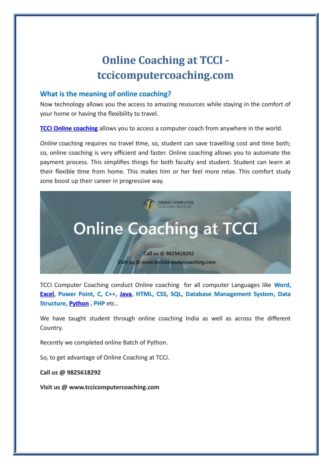 Online Coaching at TCCI - tccicomputercoaching com by
