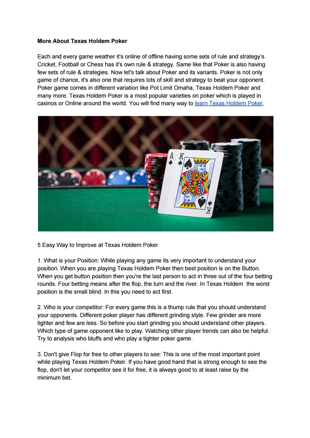 How To Play Texas Holdem Poker Hands And Rules Learn More By Ankit Singh Issuu