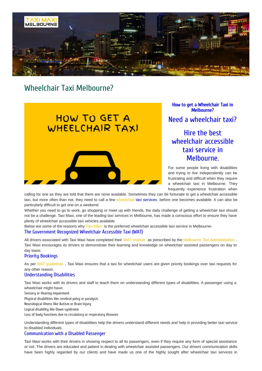 Wheelchair Taxi Melbourne? by Taxi Maxi Melbourne - issuu
