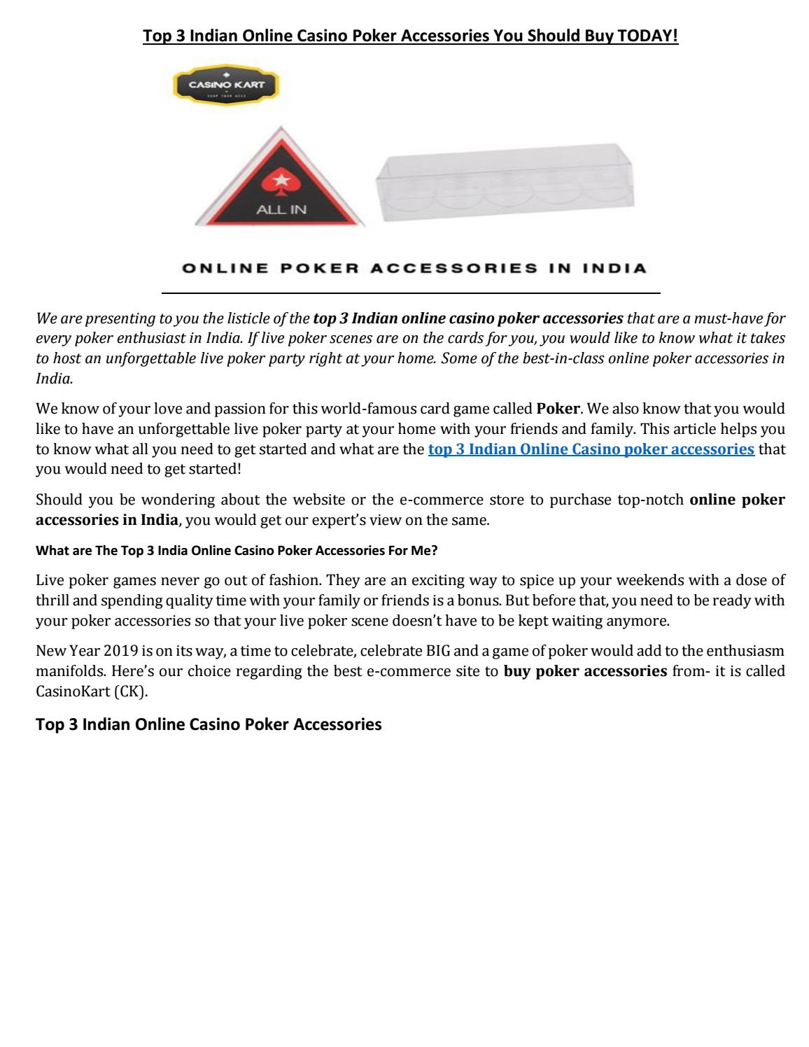 Top 3 Indian Online Casino Poker Accessories You Should Buy