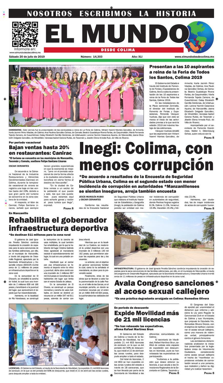 Sábado 20 De Julio De 2019 By El Mundo Desde Colima Issuu