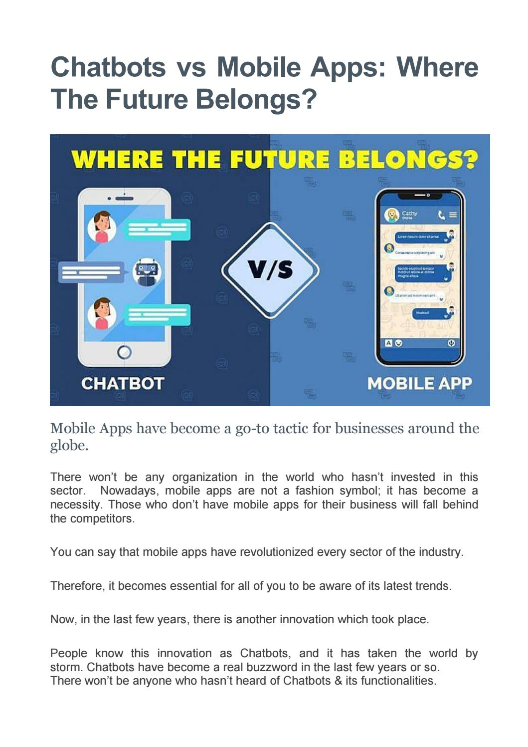Chatbots vs Mobile Apps - Which One To Opt For? by eSparkBiz