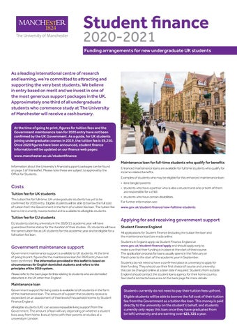 Best Student Loans 2020.Student Finance 2020 21 By The University Of Manchester Issuu