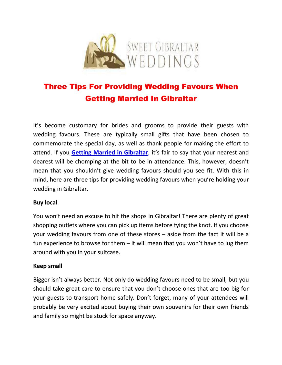 Three Tips For Providing Wedding Favours When Getting Married In