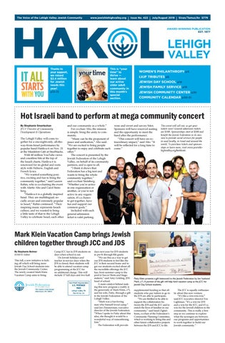 HAKOL - July/August 2019 by Jewish Federation of the Lehigh Valley