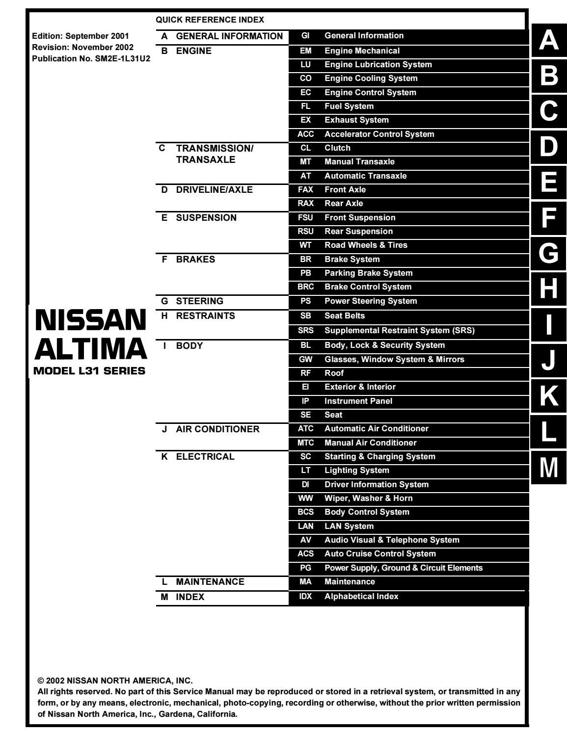 2002 nissan altima service repair manual by 16310168 - issuu  issuu