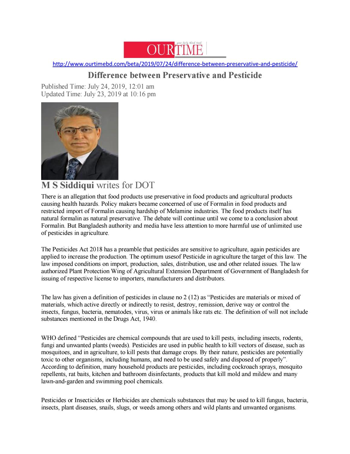 Difference between Preservative and Pesticide by M S Siddiqui - issuu