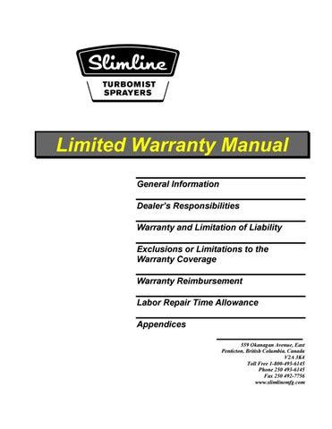 Turbo-mist Warranty policy (not California) REV FEB 2019 by