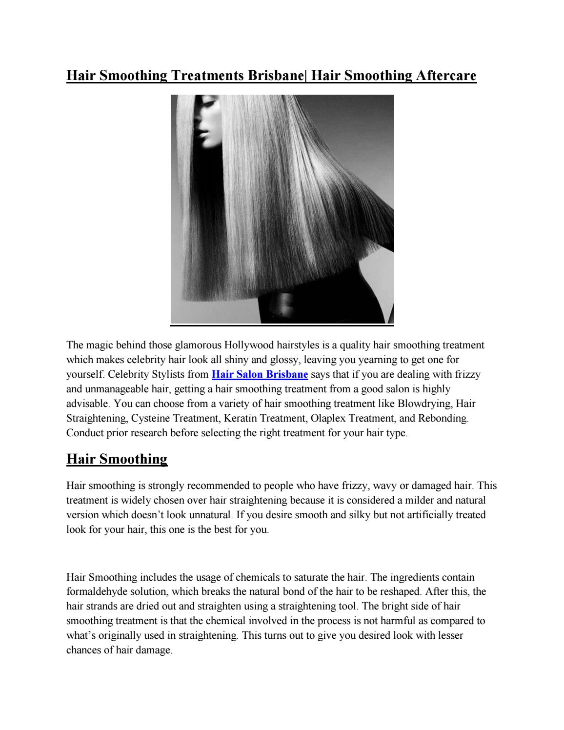 Hair Smoothing Treatments Brisbane Hair Smoothing After Care By Tsiknaris Hair Issuu