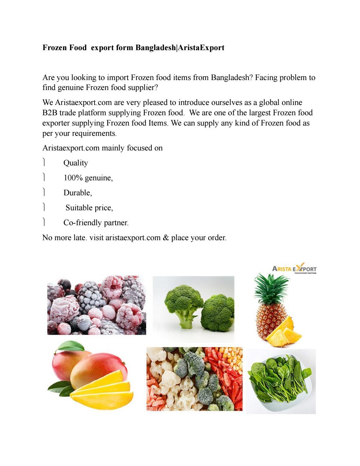 Frozen Food export form Bangladesh|AristaExport by Sayeda