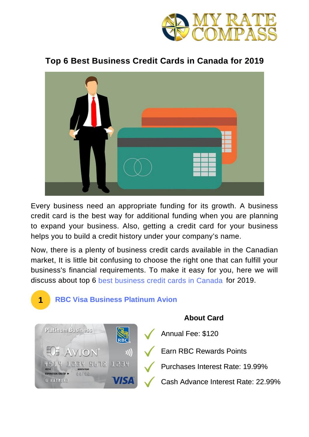 Best Business Credit Cards >> Top 6 Best Business Credit Cards In Canada For 2019 By My