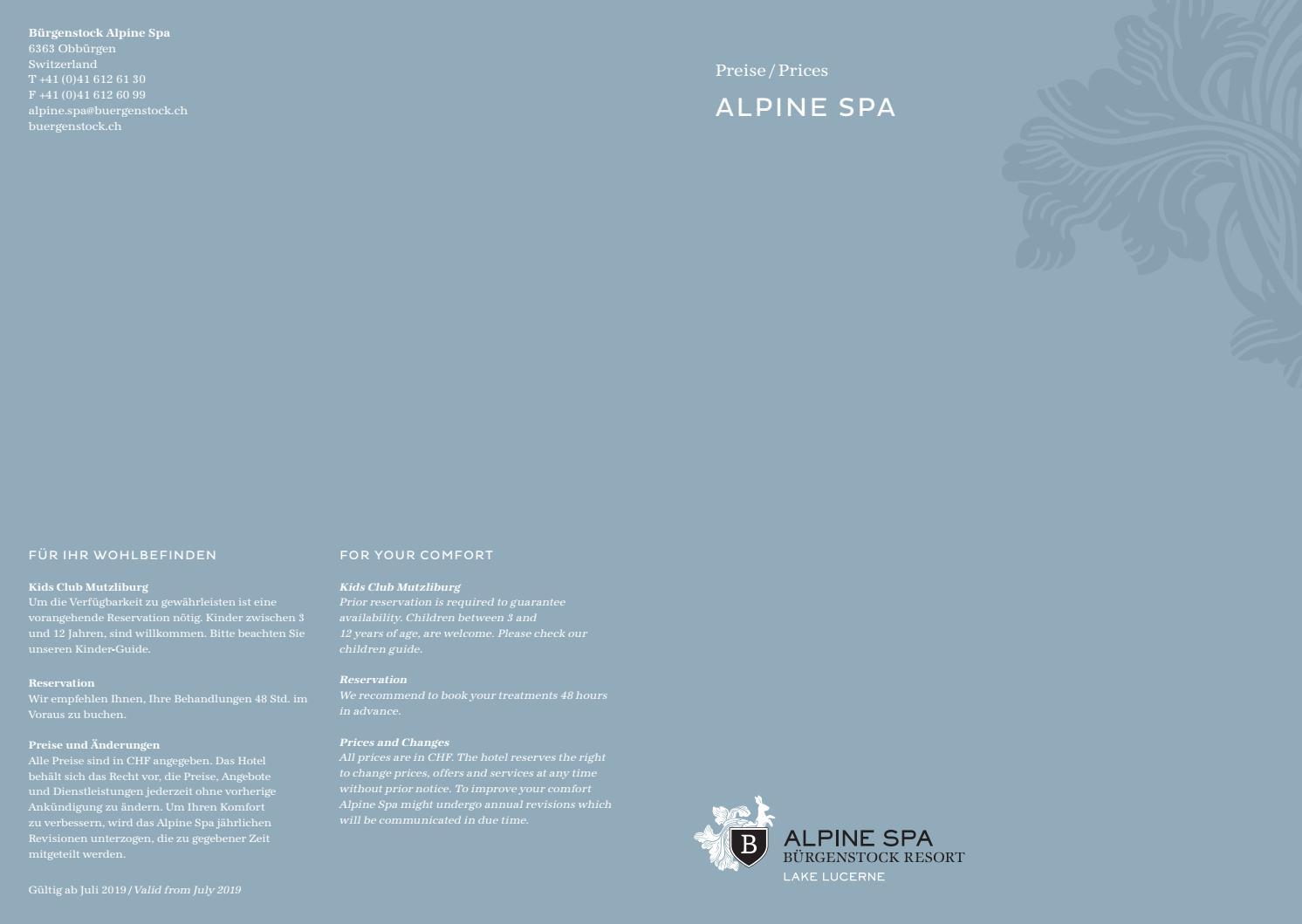 565eb65aaa Preisliste Alpine Spa by The Bürgenstock Selection - issuu