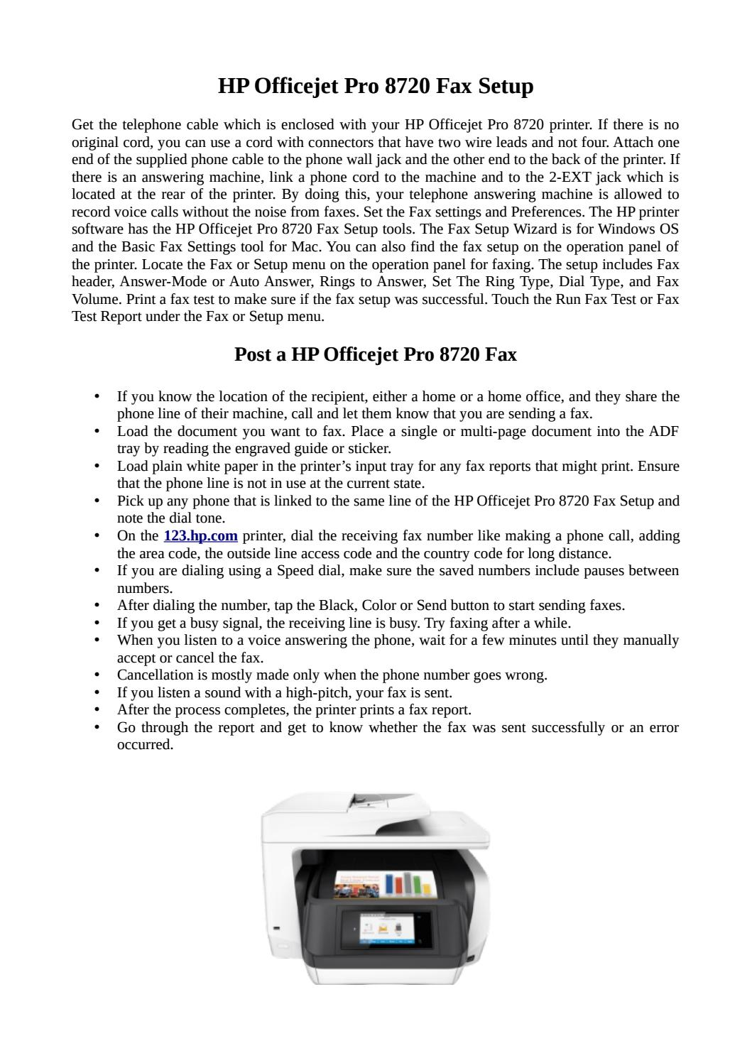 Easy Steps For Hp Officejet Pro 8720 Fax Setup By Jack Leach Issuu