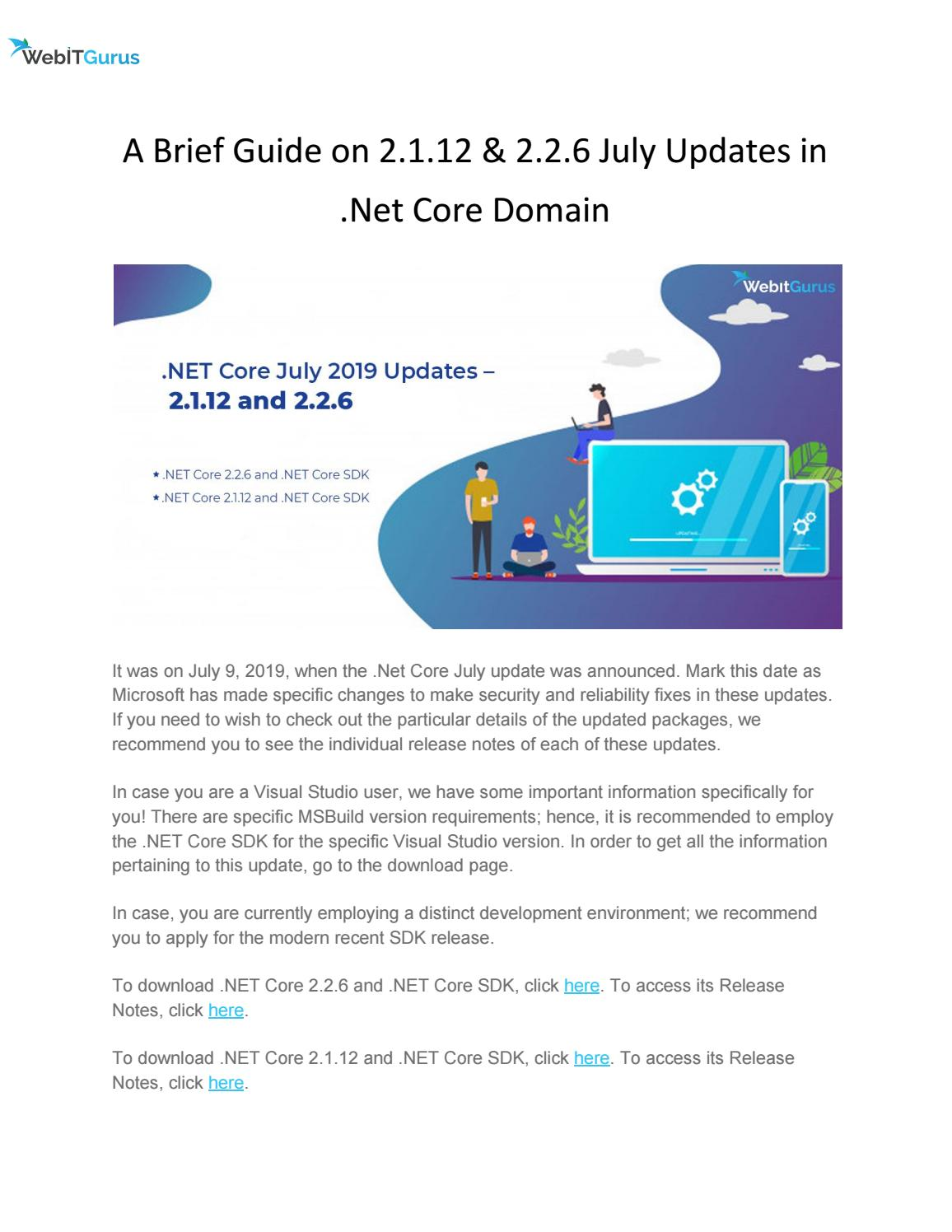 A Brief Guide on 2 1 12 & 2 2 6 July Updates in  Net Core