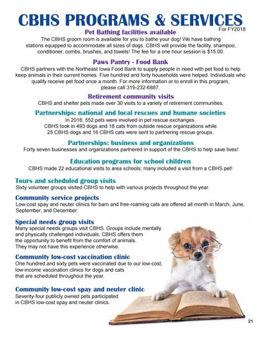 Page 21 of Cedar Bend Humane Society Programs and Services offered in Fiscal Year 2018