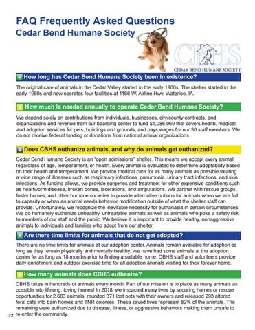 Page 32 of Frequently Asked Questions about Cedar Bend Humane Society