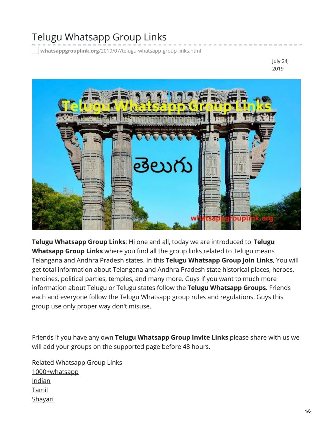 Telugu Whatsapp Group Links by whatsappgrouplinks77 - issuu