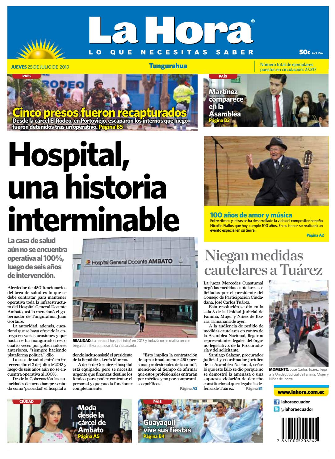 14d7b1ec87e9 TUNGURAHUA 25 DE JULIO DE 2019 by Diario La Hora Ecuador - issuu