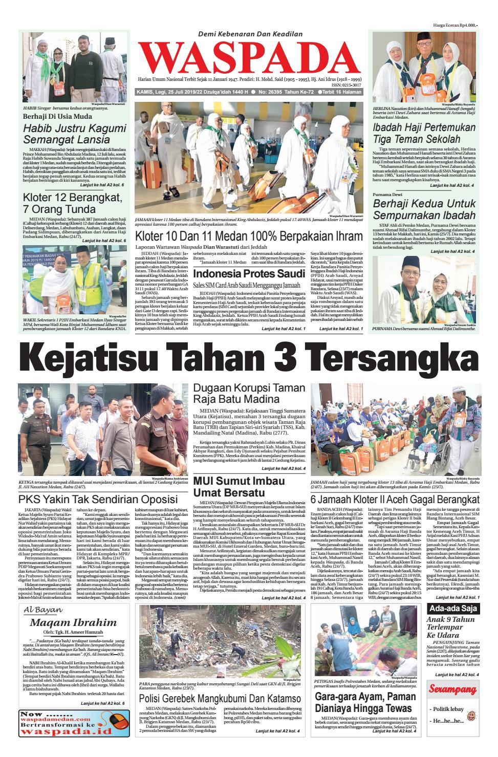 Waspada, Kamis 25 Juli 2019 by Harian Waspada - issuu