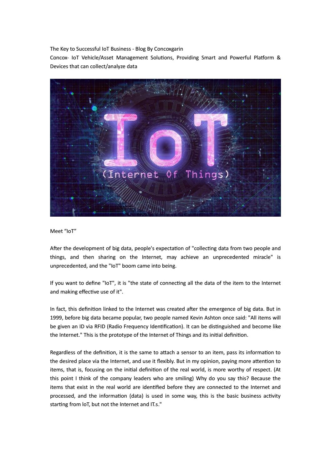 The Key to Successful IoT Business - Blog By Concoxgarin by