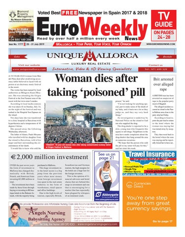 Euro Weekly News Mallorca 25 31 July 2019 Issue 1777 By
