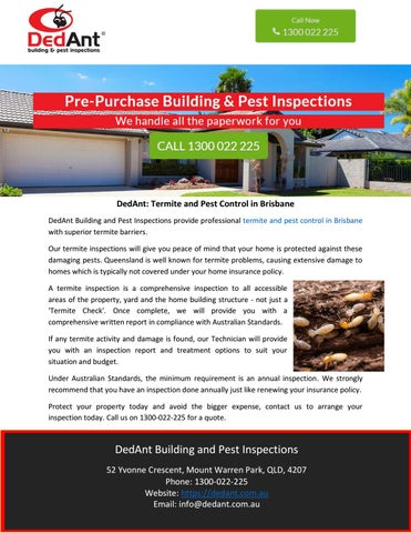 Dedant Termite And Pest Control In Brisbane By Dedant Building And Pest Inspections Issuu