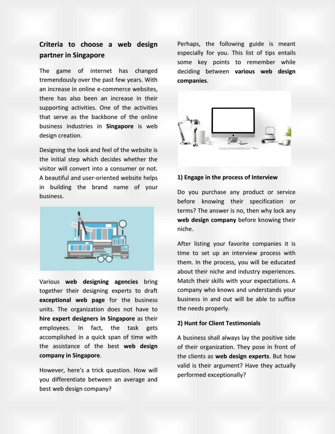 Criteria To Choose A Web Design Partner In Singapore By Rickylegros1 Issuu
