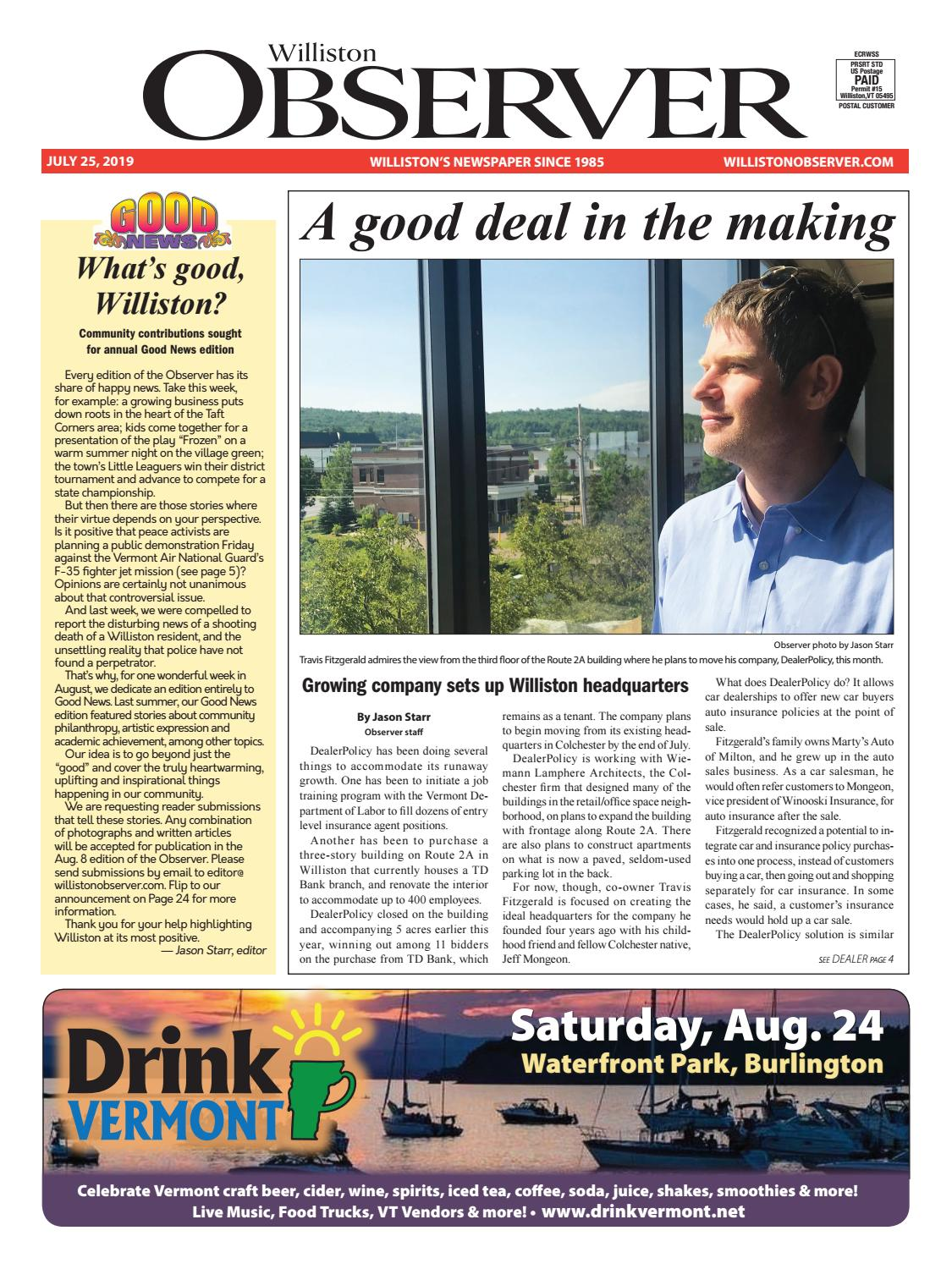 Colchester Vermont Events July 13 2020.Williston Observer 7 25 19 By Williston Publishing Issuu