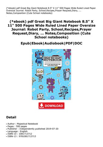 Ebook Pdf Great Big Giant Notebook 8 5 X 11 500 Pages Wide