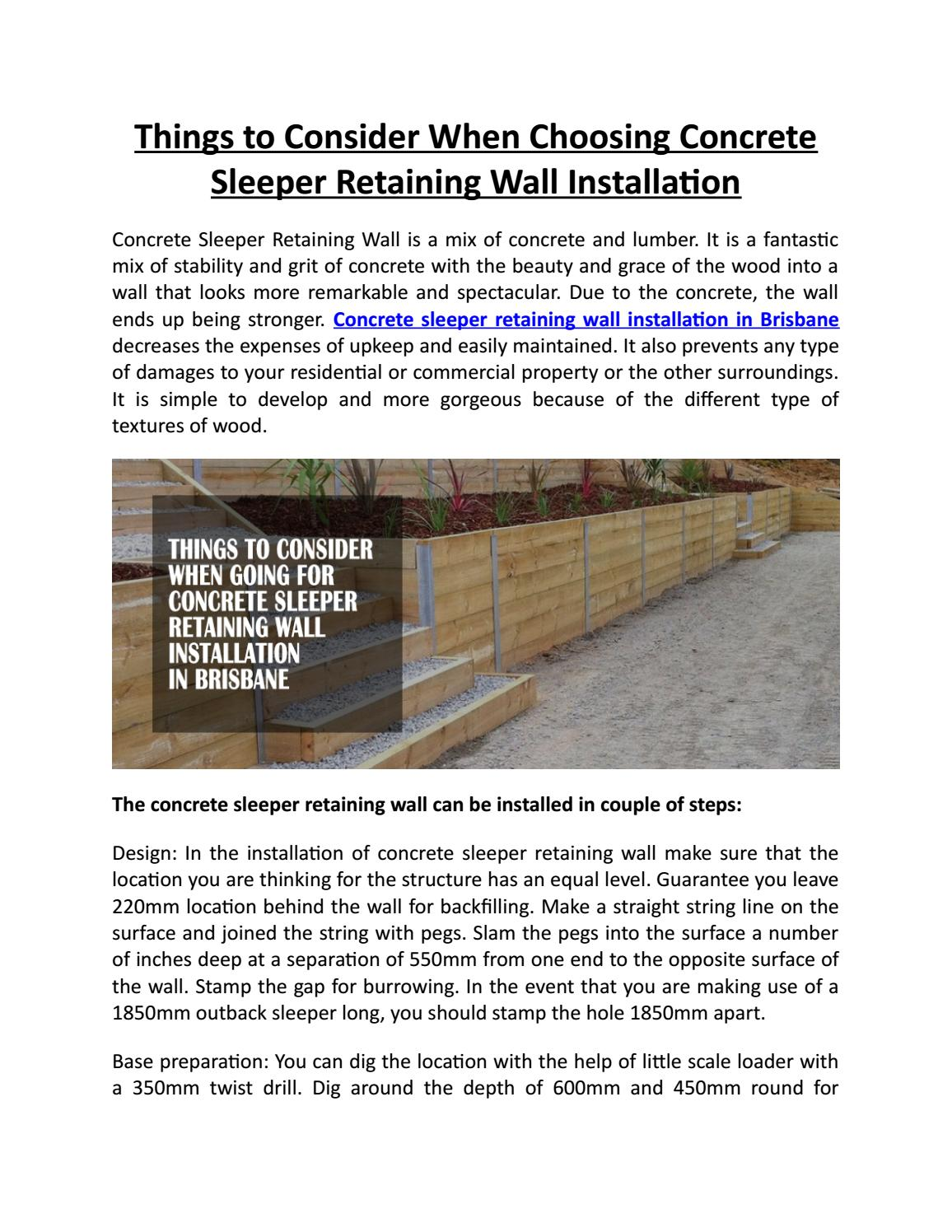 Things to Consider When Choosing Concrete Sleeper Retaining