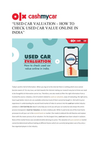 Check My Car Value >> Used Car Valuation How To Check Used Car Value Online In