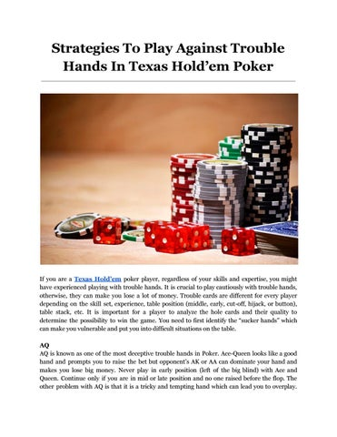 Strategies To Play Against Trouble Hands In Texas Hold Em Poker By Adda52 Issuu