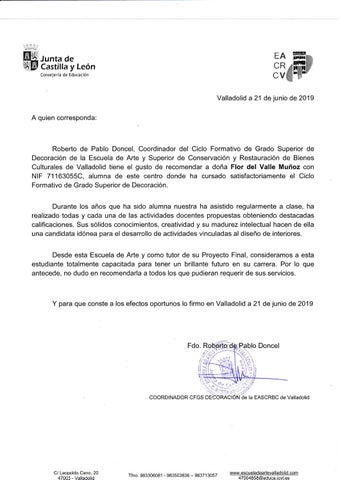 Recomendation Letter From Tutor Spanish By Flor Del Valle