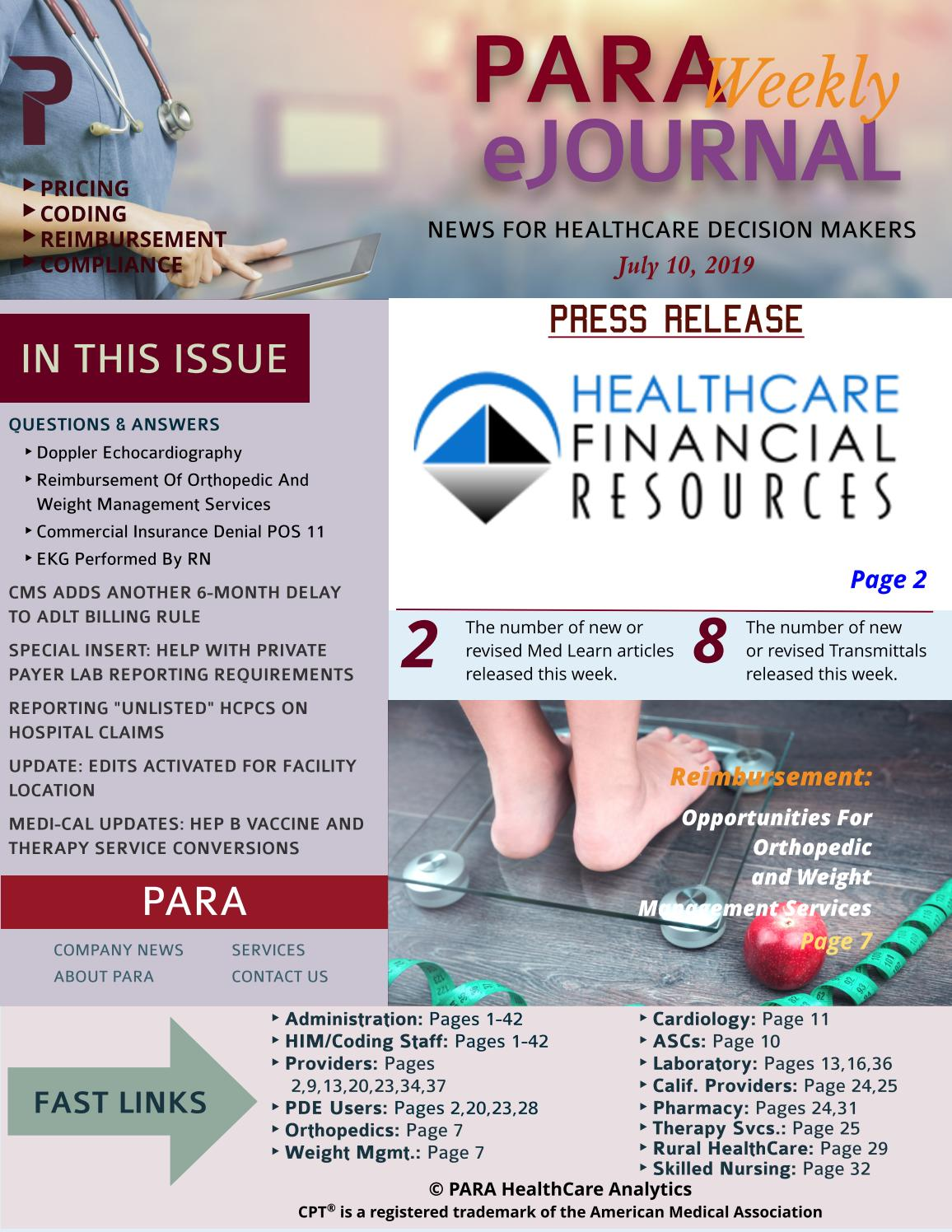 PARA Weekly eJournal July 10, 2019 by PARA HealthCare